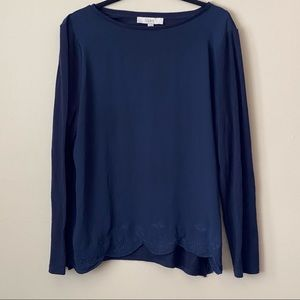 LOFT navy long-sleeve with scalloped hem